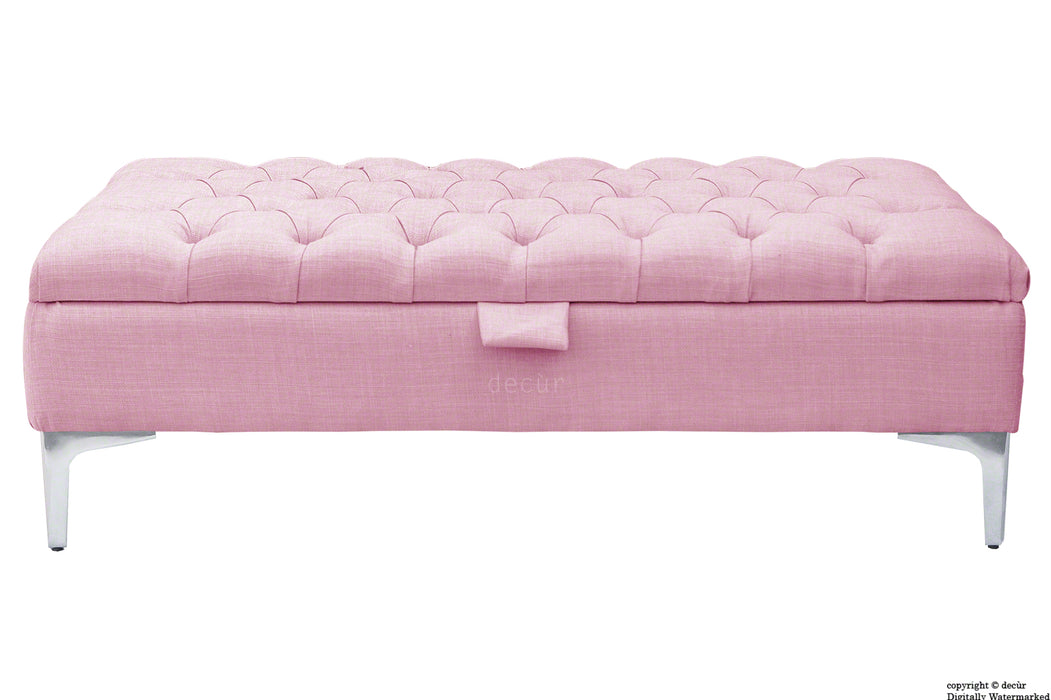 Tiffany Modern Buttoned Linen Footstool - Pink with Optional Storage