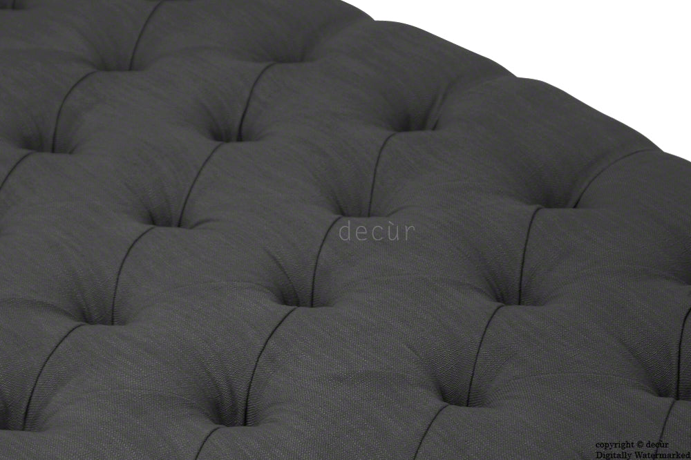 Raveen Buttoned Linen Modern Footstool - Black SALE (LARGE)