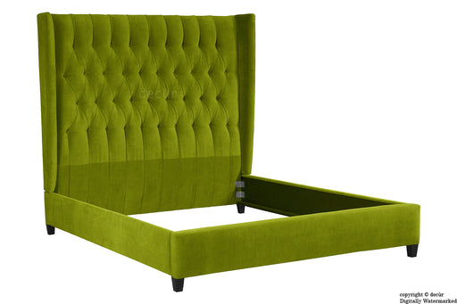 Adlington Velvet Upholstered Winged Bed - Grass
