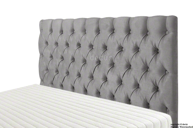 Tiffany Harrogate Buttoned Velvet Headboard - Seal