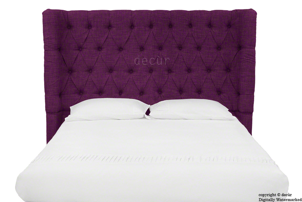 Hollyrood Buttoned Linen Winged Headboard - Plum