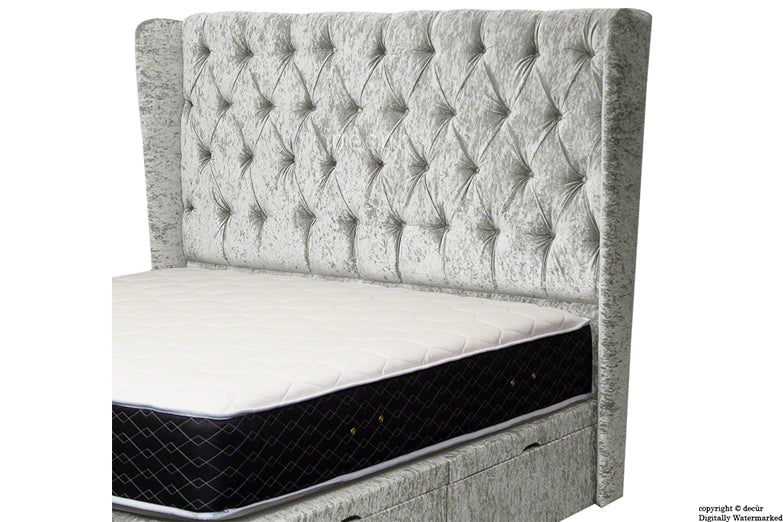 Elizabeth Winged Buttoned Crushed Velvet Headboard - Silver