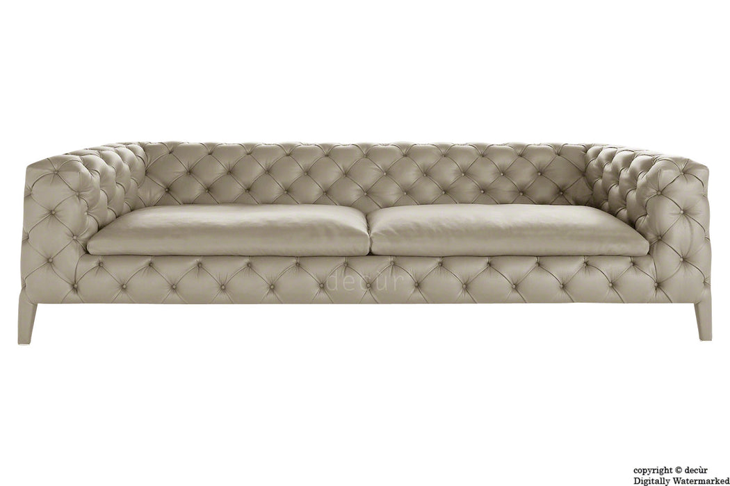 Rochester Leather Chesterfield Sofa - Mid Stone