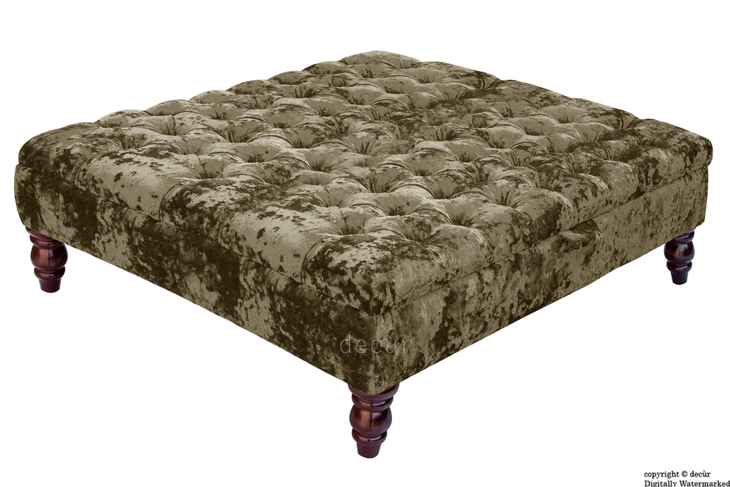 Tiffany Buttoned Crushed Velvet Footstool Large - Liquer with Optional Storage