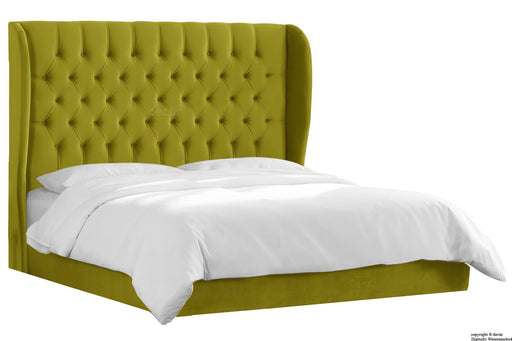Vienna Velvet Upholstered Winged Bed - Grass