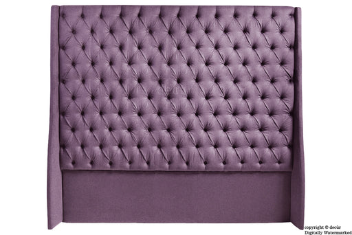 Abbingdon Buttoned Winged Velvet Headboard - Lavender