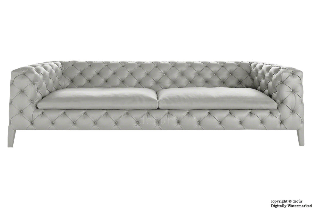 Rochester Leather Chesterfield Sofa - Dove Grey
