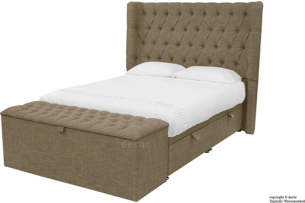 Hollyrood Linen Upholstered Winged Ottoman Bed - Nutmeg