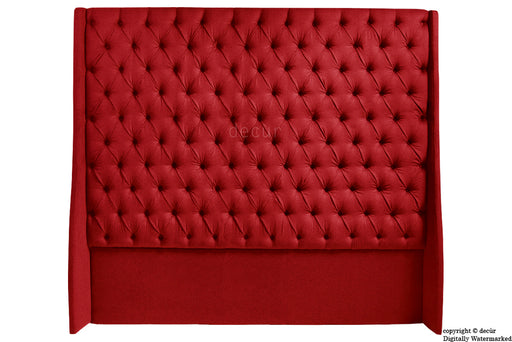 Abbingdon Buttoned Winged Velvet Headboard - Red