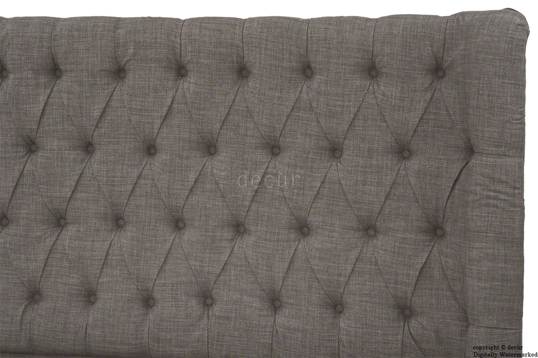 Hollyrood Buttoned Linen Winged Headboard - Slate