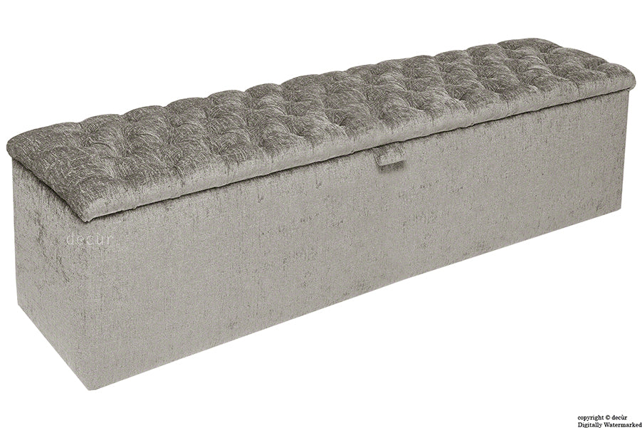 Viscount Chesterfield Chenille Ottoman - Silver Grey