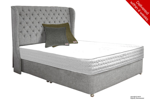 Chelsea Wing Button Wool Bed - Grey