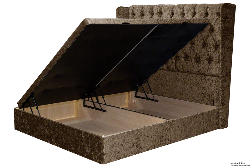 Elizabeth Winged Buttoned Crushed Velvet Bed - Chocolate