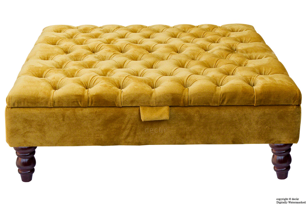 Tiffany Buttoned Velvet Footstool Large - Gold with Optional Storage