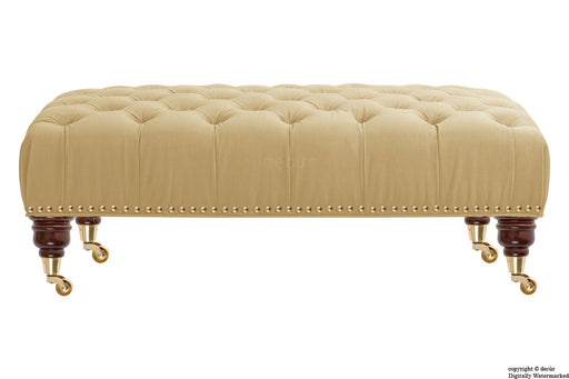 Catherine Buttoned Velvet Footstool - Parchment with Optional Storage