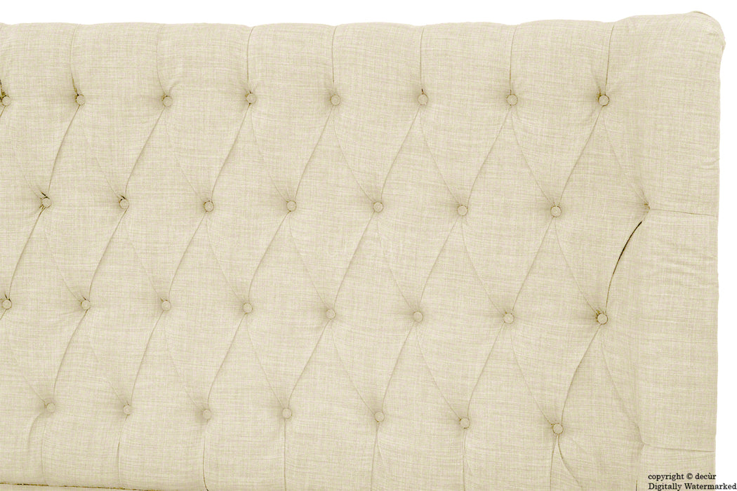 Hollyrood Buttoned Linen Winged Headboard - Cream