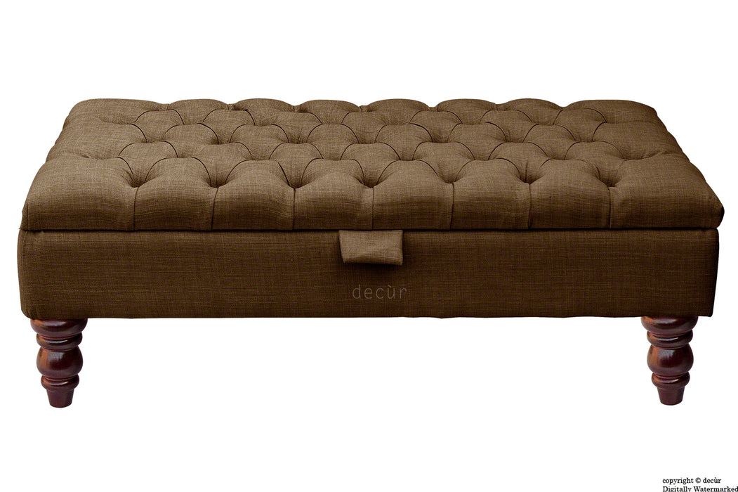 Tiffany Buttoned Linen Footstool - Brown with Optional Storage