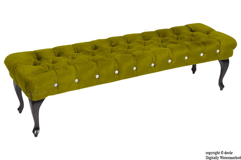 Serena Buttoned Velvet Footstool Bench - Grass