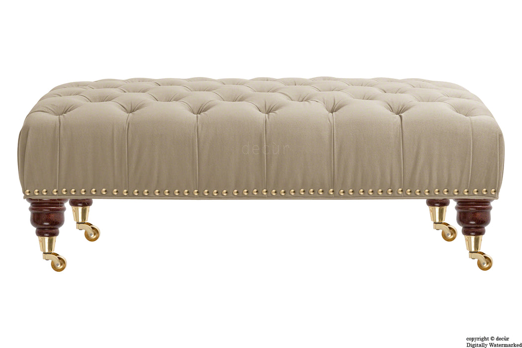 Catherine Buttoned Velvet Footstool - Putty with Optional Storage