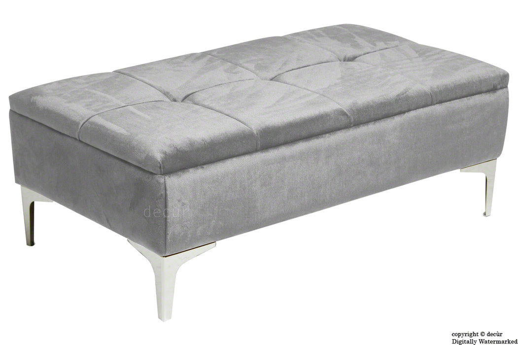Mila Modern Buttoned Velvet Footstool - Silver with Optional Storage