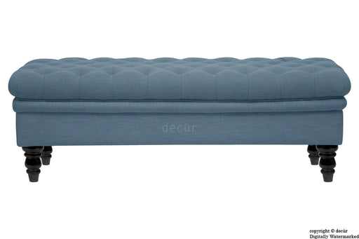 Amy Buttoned Linen Modern Tufted Footstool - Denim