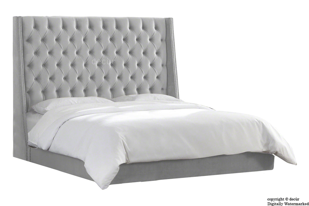 Sandringham Velvet Upholstered Winged Bed - Silver (Swarovski Options)