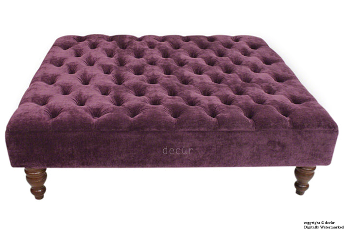 Tiffany Buttoned Chenille Footstool Large - Aubergine with Optional Storage