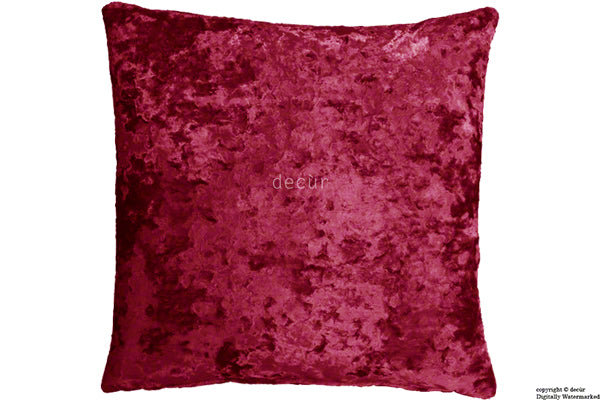 London Crushed Velvet Cushion - Carmine