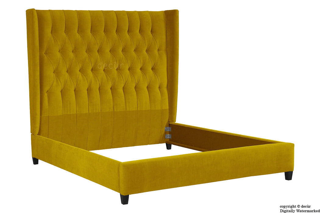 Adlington Velvet Upholstered Winged Bed - Gold