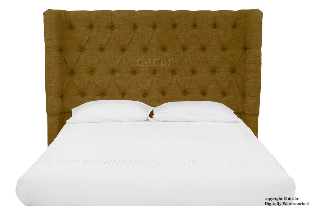 Hollyrood Buttoned Linen Winged Headboard - Coffee