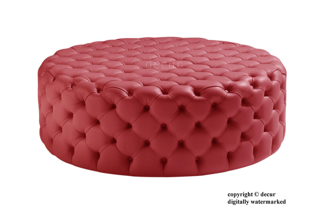 Round Leather Buttoned Ottoman / Footstool - Red