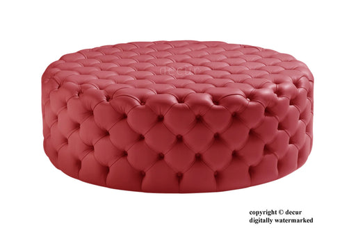 Decur Leather Round Buttoned Ottoman / Footstool - Red