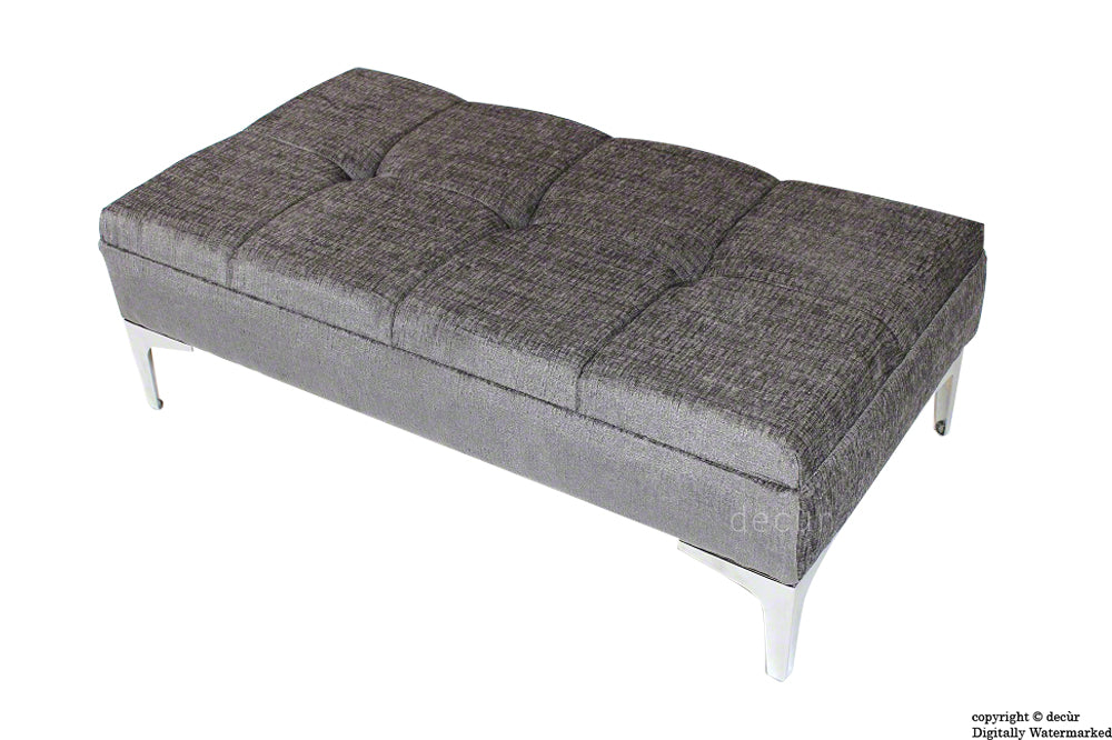 Mila Buttoned Footstool - Silver Grey with Optional Storage