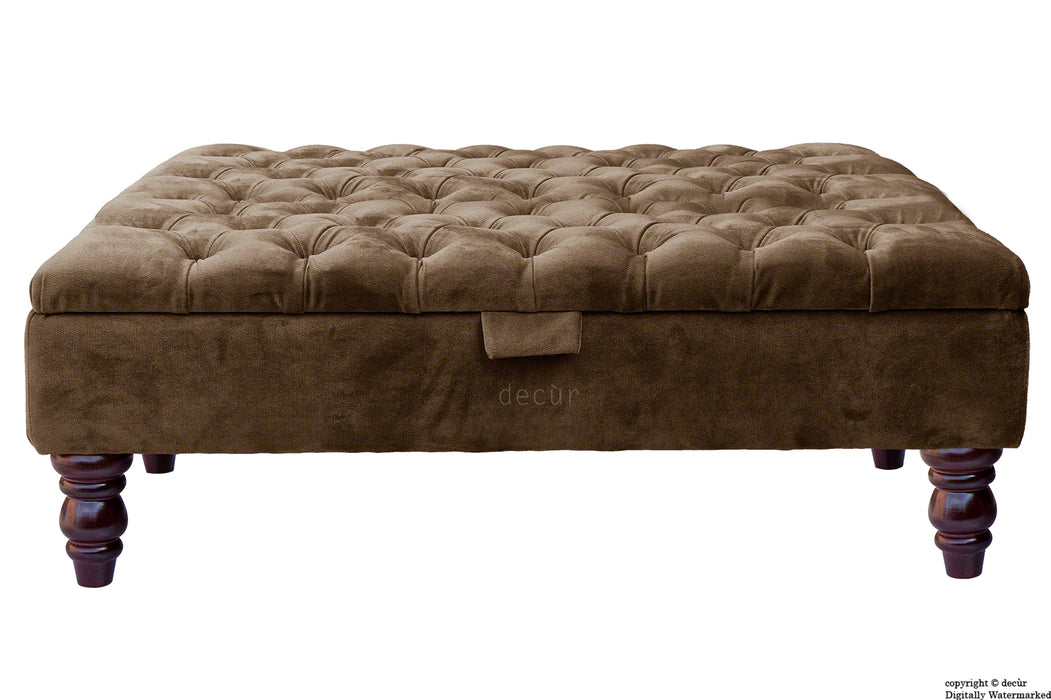 Tiffany Buttoned Velvet Footstool Large - Mushroom with Optional Storage