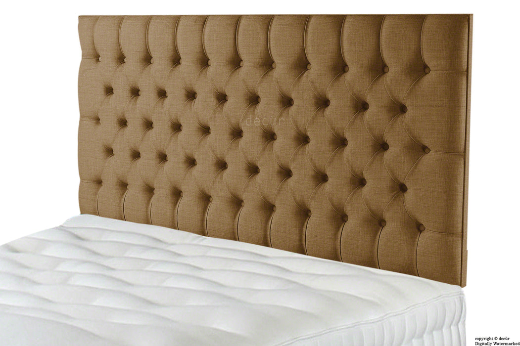 Tiffany Harrogate Buttoned Linen Headboard - Coffee