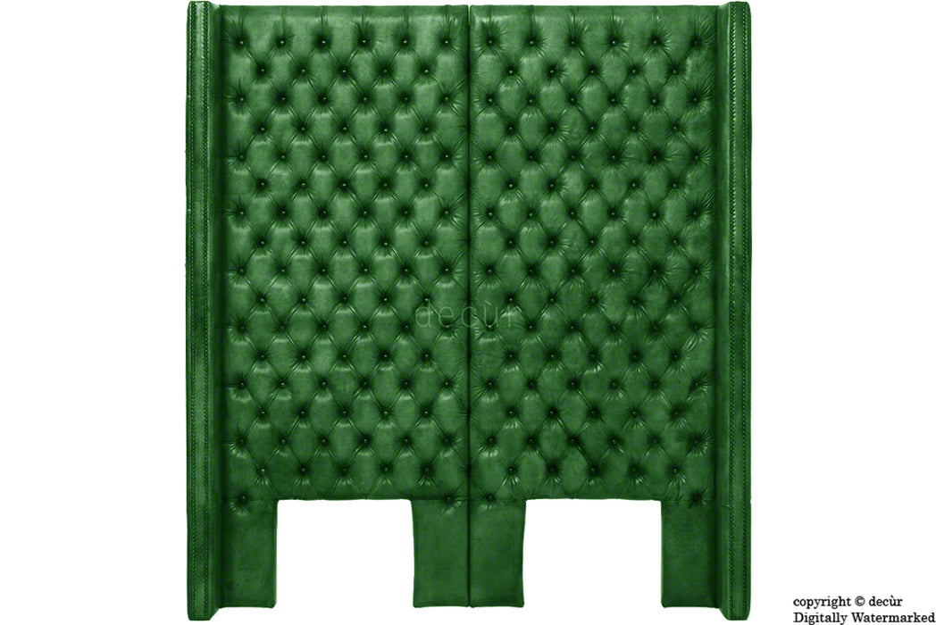 Beauchamp Buttoned Courtyard Leather Green Headboard Headboards Decur Decur Co Uk