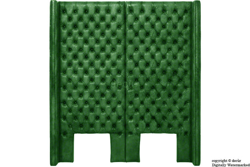 Beauchamp Buttoned Courtyard Leather Headboard Green