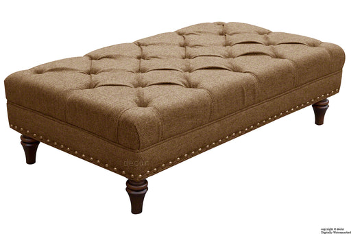 Harris Tweed Lewis Buttoned Hebrides Plain Footstool - Tolsta Dunes