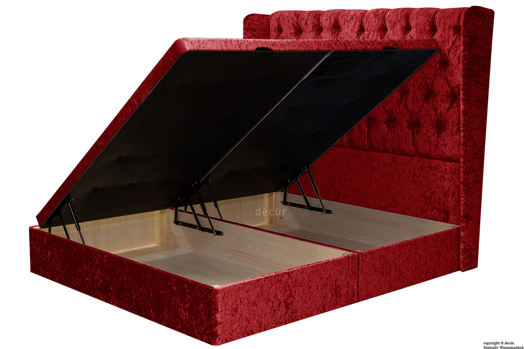 Elizabeth Winged Buttoned Crushed Velvet Bed - Postbox