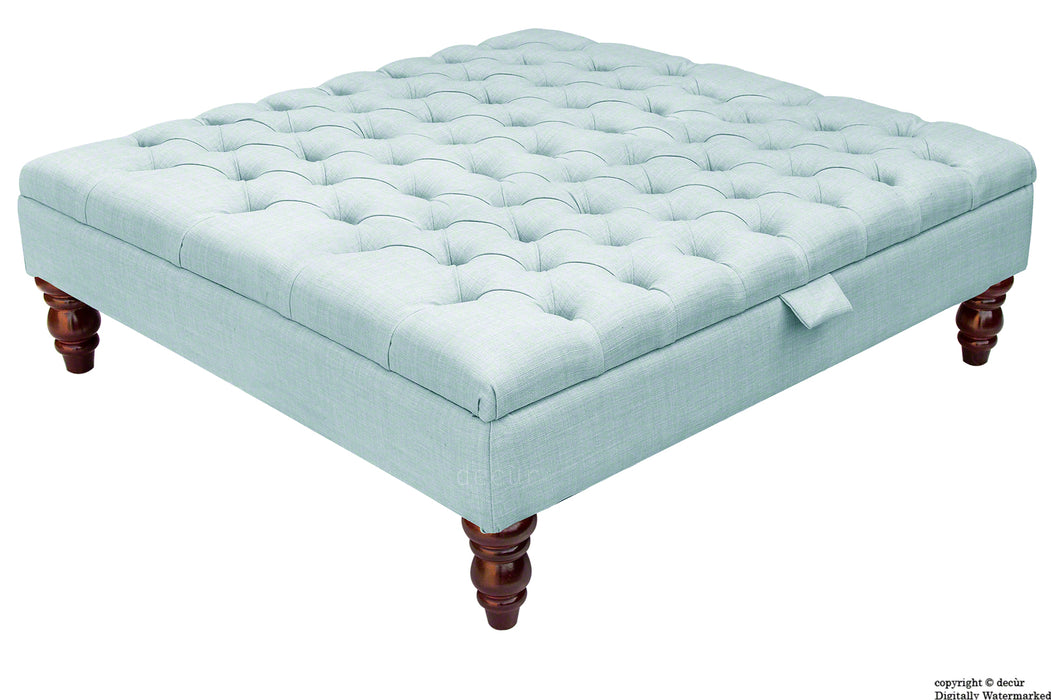 Tiffany Buttoned Linen Footstool Large - Sky Duck Egg Blue with Optional Storage