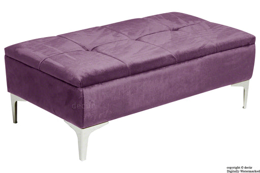 Mila Modern Buttoned Velvet Footstool - Lavender with Optional Storage