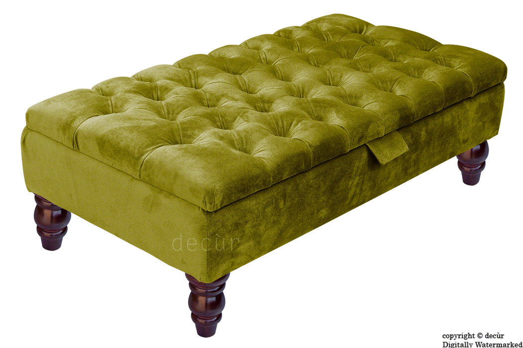 Tiffany Buttoned Velvet Footstool - Grass with Optional Storage