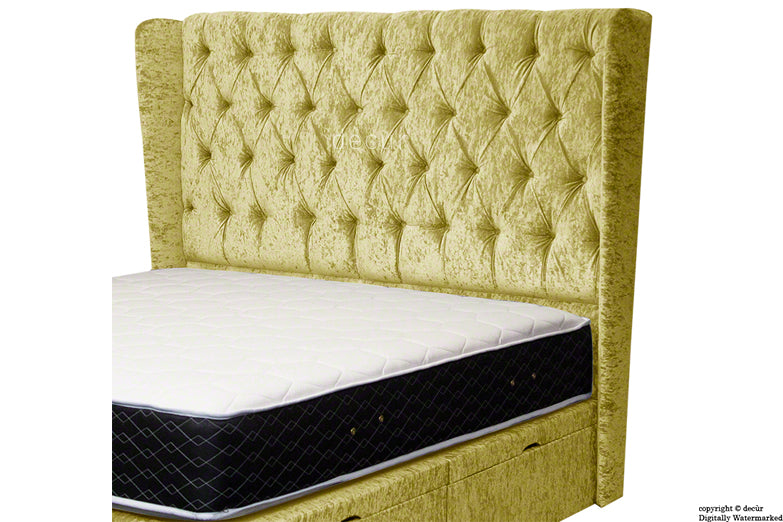 Elizabeth Winged Buttoned Crushed Velvet Headboard - Chartreuse