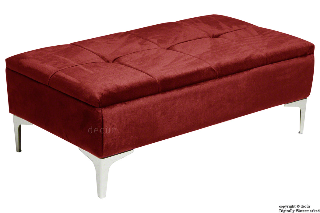 Mila Modern Buttoned Velvet Footstool - Red with Optional Storage