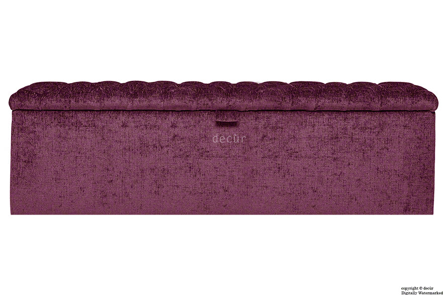 Viscount Chesterfield Chenille Ottoman - Aubergine