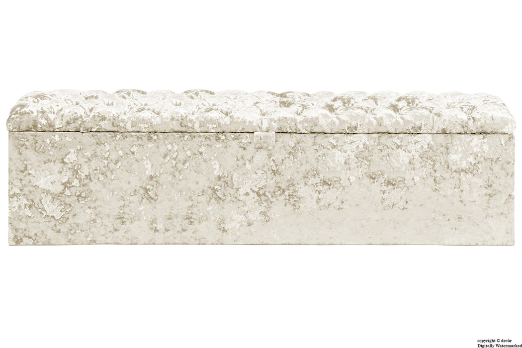 Viscount Crushed Velvet Ottoman - Chalk
