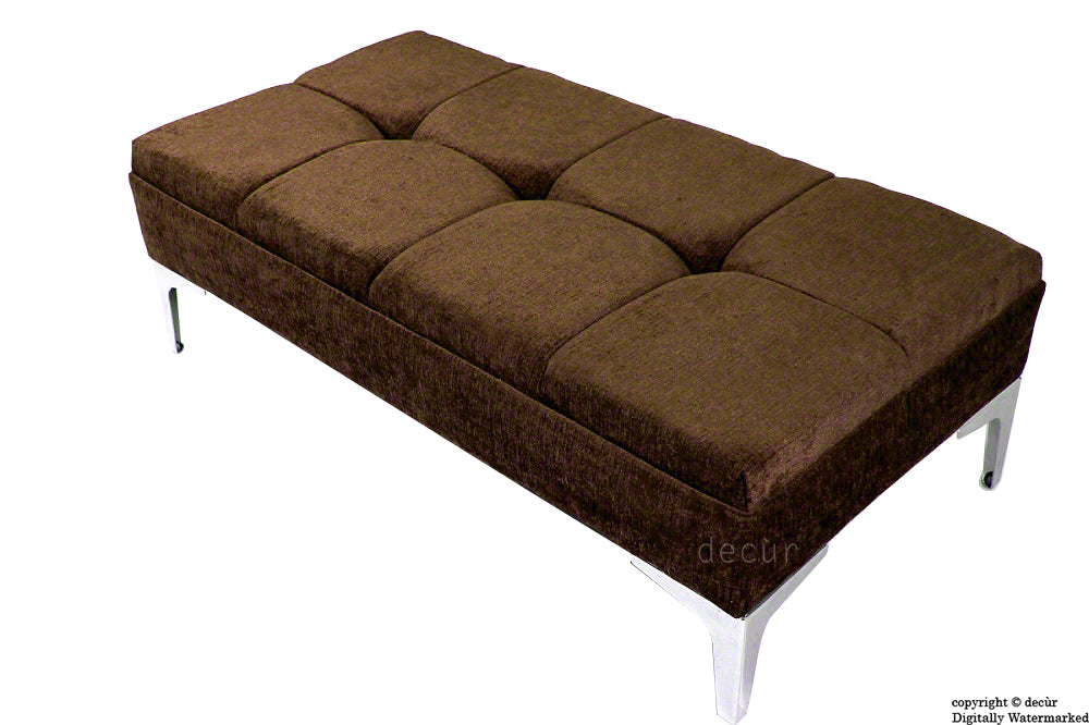 Mila Buttoned Footstool - Brown with Optional Storage