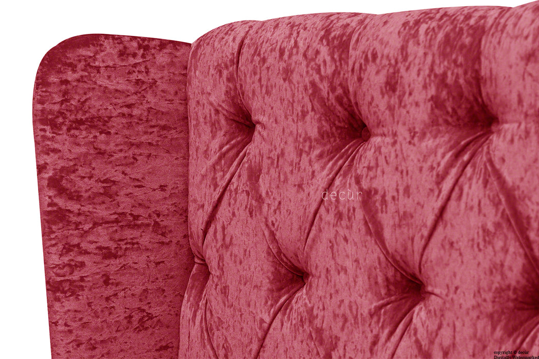 Eliza Winged Buttoned Crushed Velvet Headboard - Red