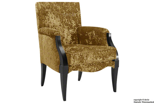 Art Deco Crushed Velvet Arm Chair - Gold