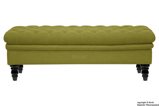 Amy Buttoned Linen Modern Tufted Footstool - Olive